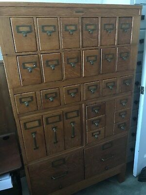 Globe Wernicke Tiger Oak and Brass Post Office File Cabinet Vintage 1940s