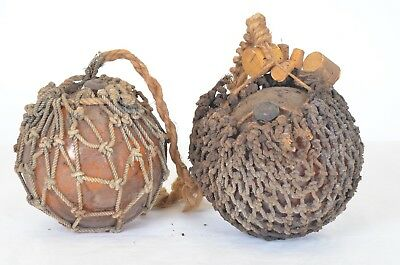 Lot of 2 - Old Authentic Large Vintage Blown Glass Fishing Rope Buoy Ball