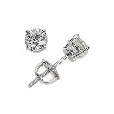 1.25ct ROUND CUT diamond stud earrings 14K WHITE GOLD D VS2-SI1 CERTIFIED
