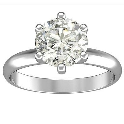 1.60ct ROUND CUT solitaire diamond engagement Ring 14k WHITE GOLD CERTIFIED