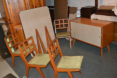 Vtg Danish MidCentury Mod Wood Dining Room Table 4 Chairs ONLY No console buffet