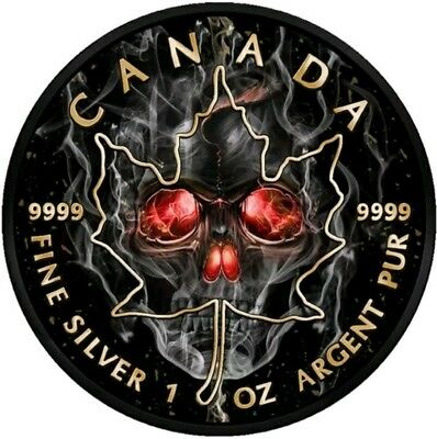 2018 1 Oz Silver $5 SMOKED SKULL MAPLE LEAF Coin WITH RUTHENIUM.