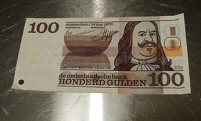 Circulated Netherlands 100 Gulden 1970 Bank Note