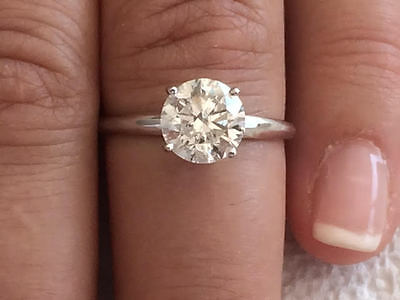2.10ct ROUND CUT solitaire diamond engagement Ring 14k WHITE GOLD D COLOR SI2