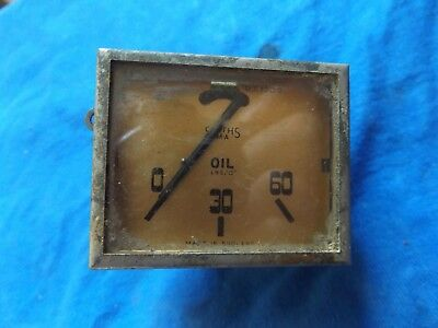 Vintage Ford Triumph Mg Austin Smiths Pre War Square Oil Pressure Gauge Working