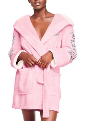 76f7b223cd Nwt Victoria s Secret Pink Cozy Bling Sherpa Lined Plush Short Hooded Robe  Xs s