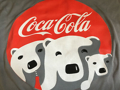 NEW Coca Cola Holiday Polar Bear T-Shirt gray red white Great Gift Large tee