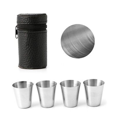 4Pcs Outdoor Camping Stainless Steel Mini Cup Mug Drinking Coffee Beer With Case