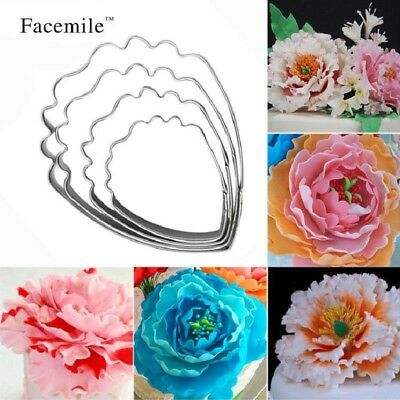 Gift 4PCS 3D Beautiful Flower Cake Mold Stainless Steel Peony Flower Cookie