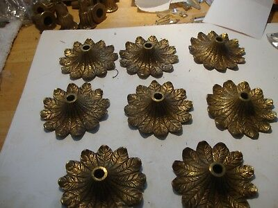 "8 old vintage solid brass 3 1/2"" accent fancy bobeches chandelier lamp parts"