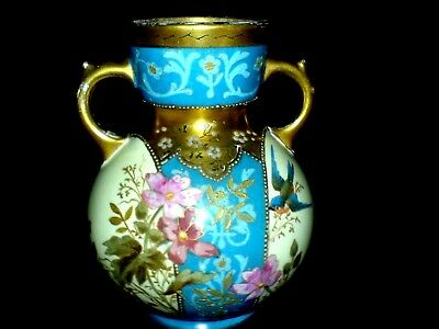 ROYAL BONN Franz Anton Mehlem Gold/Turquoise/Cream 5 3/8 inch 2 Handle Vase 1875