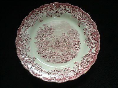 Ridgway Woburn Red/Pink Hand Engraved 10 inch Plate