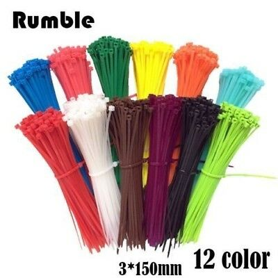 New 100pcs/bag 12 Color 3X150MM Self-Locking Nylon Wire Cable Zip Ties Cable Tie
