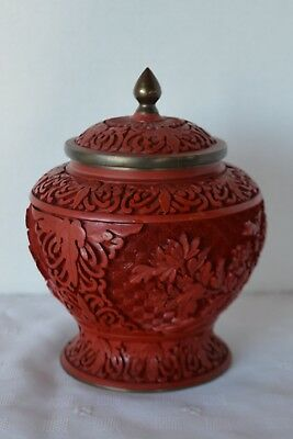 Vintage Chinese Carved Cinnabar Lacquer Urn Brass with Enamel Coating