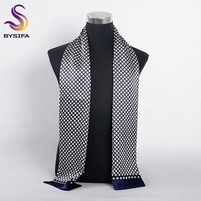 [BYSIFA] Brand Men Silk Scarf Muffler 160*26cm Blue Navy Cravat Scarves Long