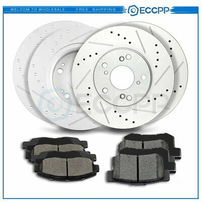 Fit 1989 Honda Accord Front HartBrakes Drill Slot Brake Rotors+Ceramic Brake Pad