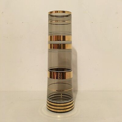 Tall Vintage Retro Smokey Grey Gold Hooped Glass Flower Vase