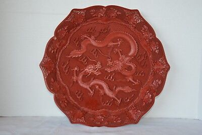 Vintage Chinese Red Cinnabar Carved Lacquer Decorative Tray