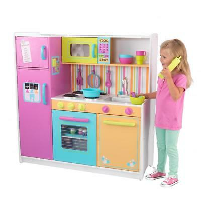 Kids Play Toy Kitchen Set By Kidkraft Deluxe Big And Bright Kitchen