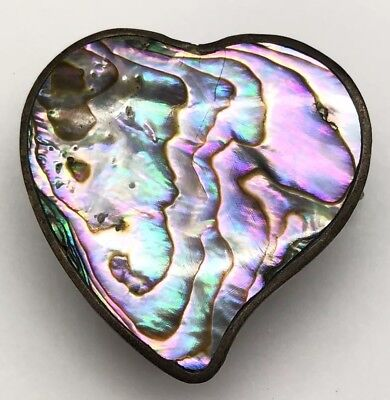 Alpaca Mexico Abalone Heart Shape Pill / Trinket Box