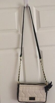 fdf1b75000d8 BETSEY JOHNSON QUILTED Hearts Ivory Black Bow Crossbody Bag Purse ...