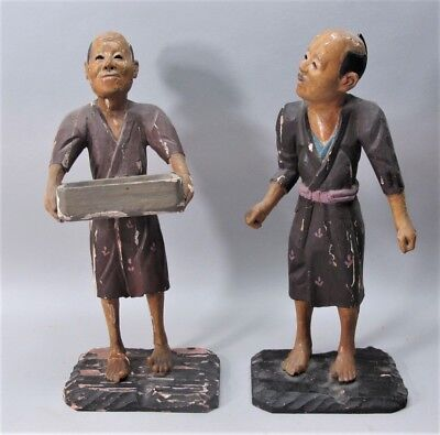 Rare Pair of 18th C. CHINESE EXPORT Carved Wood Figures  c. 1750  antique