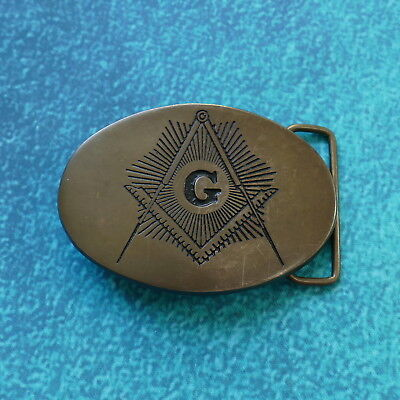 MASONIC Solid Aged Brass Belt Buckle - Vintage Freemasons Oval Antique BBB Baron