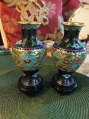 Very Beautiful Pair of Chinese Antique Handmade Cloisonne Flower Design Vases