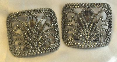 Beautiful Pair of Art Deco Period Steel Cut Shoe Buckles French