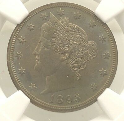 1893 V Nickel AU NGC Graded Coin Liberty 5 Cent Piece