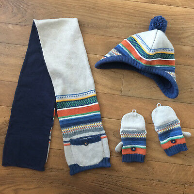 2T toddler hat scarf mittens SET