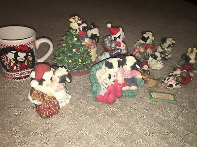 Mary's Moo Moo's Christmas Winter Lot Of 13 Figurines And Ornaments Mug Etc