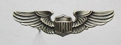 Vintage WW II MINI US ARMY PILOT WINGS STERLING PIN BACK INSIGNIA