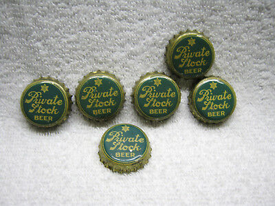 Antique Private Stock Beer Bottle Cap Lot Of Six