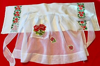 Vintage Shear White Apron With Appliqué Roses, Petit Point Roses Linen Runner