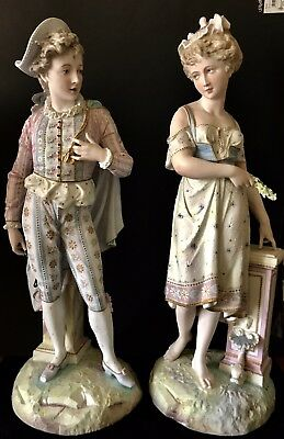 Antique French Vion Et Baury Pair Of Bisque Figurines