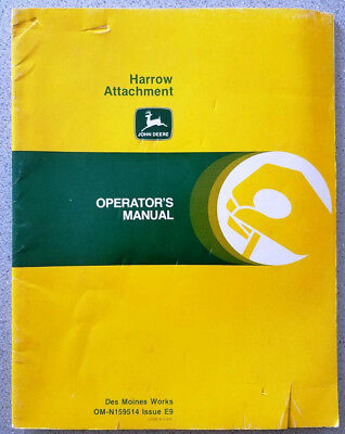 John Deere Harrow Attachment for 1010 Cultivators 1610 Plows Operator's Manual