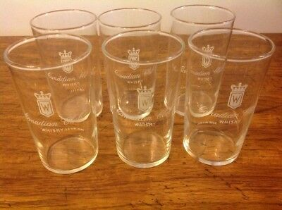Vintage Set of (6) Canadian Club 8 Oz. Whisky GLASSES ~~ Very Nice!