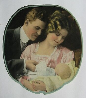 Vintage Church Fan Mother And Father With Baby In Christening Outfit