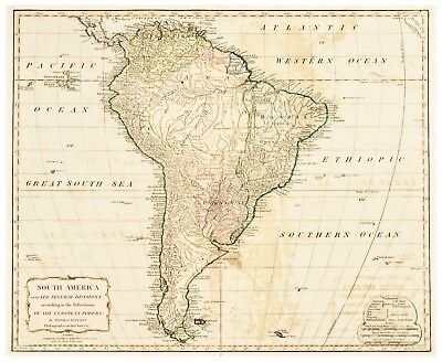 An Antique Map Of South America Dated 1794 By Thomas Kitchen
