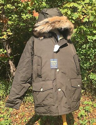 NEW WOOLRICH Arctic Parka - Dark Brown Down Parka With Real Coyote Fur Men's 2XL