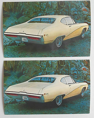 1968 lot of 2 Original Buick Deluxe Thin-Pillar Coupe Advertising Postcards
