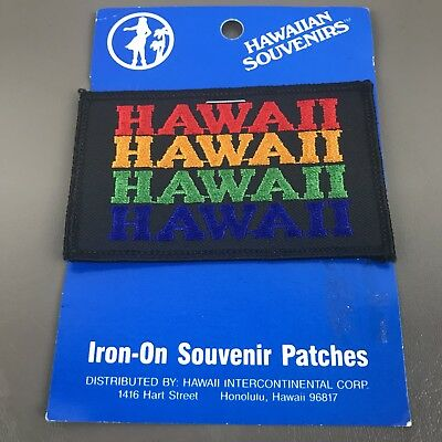 Hawaii Patch Souvenir Travel Rainbow Spell Out Embroidered Vintage