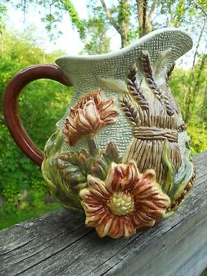 Signature Home Collection Majolica Pitcher Thanksgiving