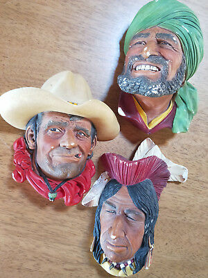 Set of Three Vintage Bossons Heads