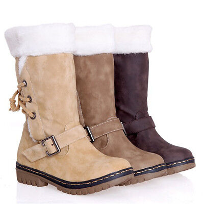 Women's Winter Boots Snow Fur Warm Insulated Waterproof Midi Calf Ski Shoes Size