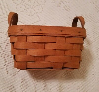Longaberger Signed Basket 1994 5x7 with leather handles