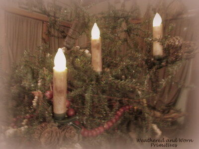 Primitive Set 10 Grungy Ivory Clip On Christmas Tree Remote Battery Candles 4""