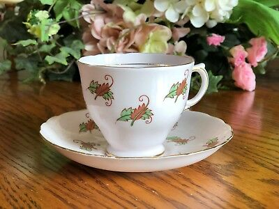 Tuscan England Tea Cup and Saucer Leaves Pink Gold