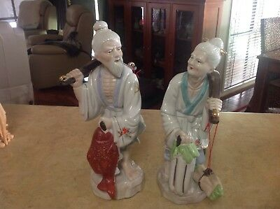 Pair Of Chinese Figurines  40cm Approx Made In Thailand Fisherman And Wife